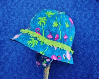 Flamingo Baby Sunhat Royal Blue with Chin Straps