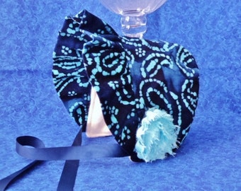 Winter Baby Bonnet Corduroy Navy Blue with Fleece Lining