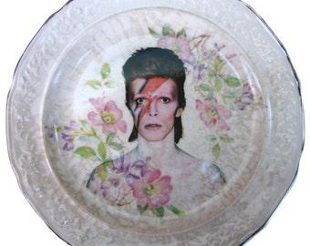 """SALE - David Bowie Portrait Plate - Altered Vintage Plate 6.25"""""""