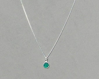 May Birthstone- Emerald Drop Necklace