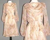 1970s Chiffon Dress, Pink Floral Tiger Lily Print Boho Prairie Dress