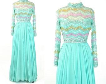 1970s Sequin Gown, Vintage 70s Chiffon Dress, Pastel Mint Green Dress, 1970s Evening Dress, Small