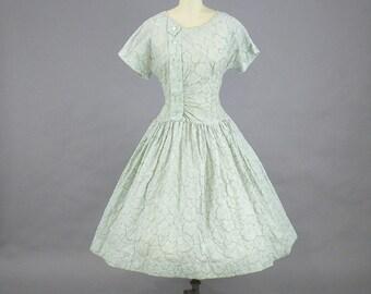 50s Dress, 1950s Full Skirt Dress, Rockabilly Dress, 50s Swing Dress, Medium, TLC
