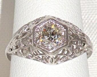 SALE Antique Filigree Diamond Engagement Ring, 14K White Gold .53ct EGL Old European Cut Diamond Wedding Ring