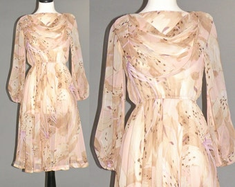 1970s Chiffon Dress, Pink Floral Tiger Lily Print Boho Prairie Dress
