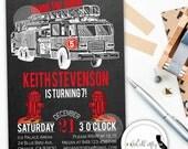 Fire Truck Birthday Party Invitation, Firefighter, Chalkboard, Chalk, Black, Red, Yellow, Printable, DIY, Digital or Printed Invitation
