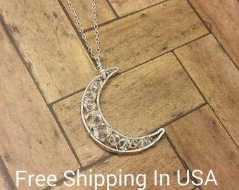 moon necklace FREE SHIPPING sterling silver Swarovski crystal long celestial