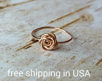 rose ring rose gold FREE SHIPPING 14k