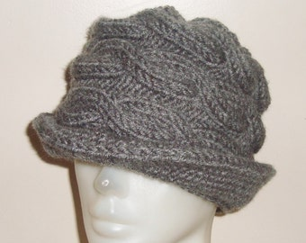Grey Womens Fedora Hat Grey Hat - Cable Beanie with Brim Grey Knit Hat Womens Accessories