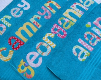 Personalized  Towel -  appliqued name -  Choose Fabric  for name - Great for the beach,bath,pool,rest mat,birthday,Graduation