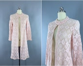 Vintage 1960s Lace Coat / 60s Crocheted Jacket / Pastel Pink Peach / Bohemian Festival Duster