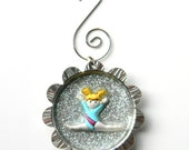 Gymnastics Glitter Ornament - Splits in Blue Leotard