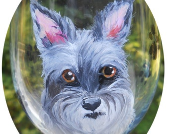 Schnauzer Hand Painted Wine Glass ~ Birthday Gift ~ Schnauzer Owner Gift ~ Dog Wine Glass