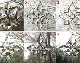 Star Sun Catcher SET of 6 Beveled Stained Glass Snowflake Suncatcher Handmade OOAK