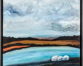 Original Contemporary Surreal Landscape with Mountains and Boulders