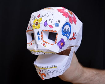 Make Your Own Skull Hand Puppet with just Paper and Glue! Dia de Los Muertos Fun! Kids Craft Project | Sugar Skull | Calavera
