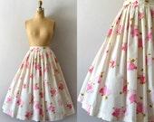 RESERVED LISTING -- Vintage 1950s Skirt - 50s Pink Floral Cotton Full Skirt