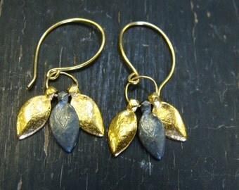 18K Vermeil & Oxidized 3 Sedum Leaves Earrings -- Botanical Jewelry -- Nature Cast
