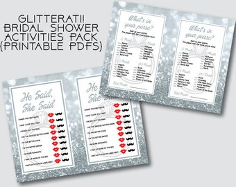 Glitterati! Bridal Shower 2 Printables | Activities | Games | PDF | Glitter | Bling | Blingy | Diamond Ring | Engagement | Bride and Groom