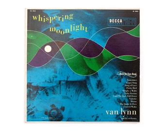 "Piedra Blanca record album design, 1954. Van Lynn ""Whispering Moonlight"" LP for Decca"