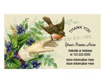 Printable Thank You Card, Business Card, Victorian Thank You Card, Cards, Bird Thank You Card by NewYorkPaperTrail on Etsy