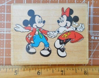 Mickey Mouse and Minnie Mouse At The Hop Rubber Stamp 399-E