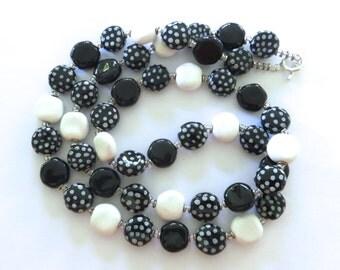 Black and White Kazuri Bead Necklace, Fair Trade Beads, Ceramic Necklace