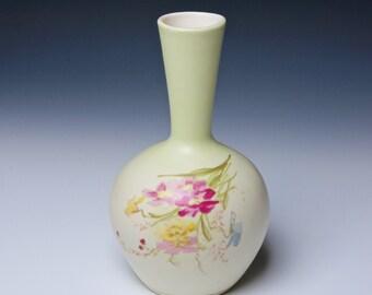 German Porcelain Vase with Handpainted Flowers
