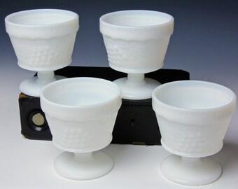 Set of 4 Dessert Cups - Vintage Milk Glass ANCHOR HOCKING Grapevine Pattern