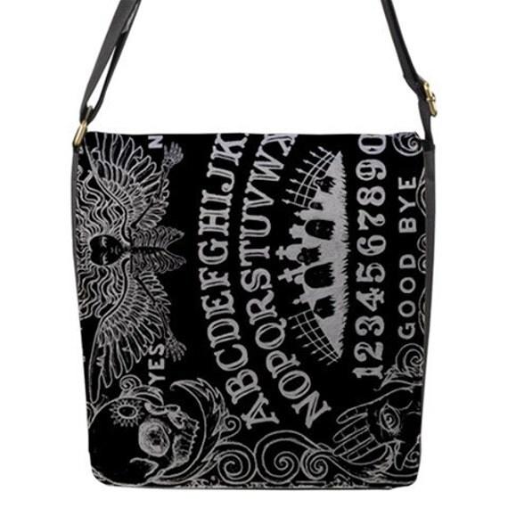 Ouija Board Black messenger flap bag