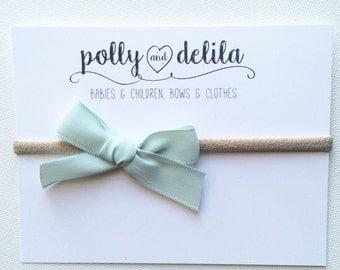 Mint bow on nylon nude headband