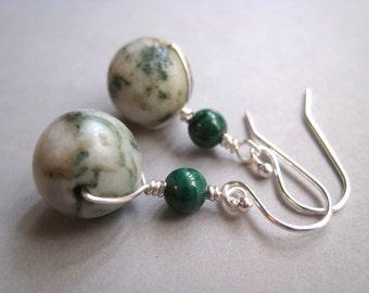 Malachite and Jasper Earrings, Sterling Earrings, Earthy Earrings, Modern Stone Earrings, Green Earrings