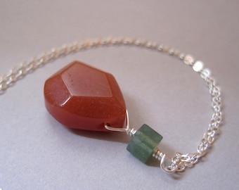 Carnelian Necklace, Sterling Silver, Moss Agate, Stone Teardrop Necklace, Yellow Necklace, Earthy, Geometric Stone