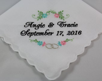 Wedding Handkerchiefs - Set of 2 - Embroidered - Wedding Gift - Simply Sweet Hankies