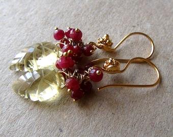 Carved Lemon Quartz, Ruby Earrings