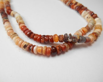 Gemstone Bead,  Primitive Mexican Fire Opals, Multi Colored 5x3mm  6 inch