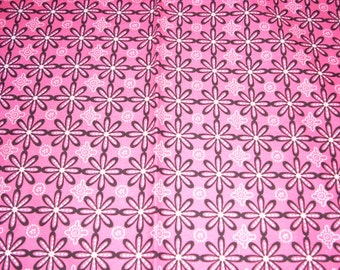 "Black and white Flowers on bright pink cotton Fabric -  44"" wide - sold by the yard"