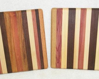 Handmade Square Multi-Wood Cutting Board/Trivet