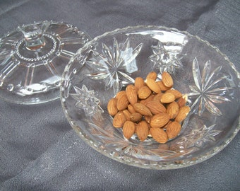 Clear Glass Footed Candy Dish With Lid