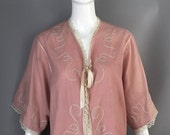 SALE 1920s dusty pink LINGERIE duster B Altman & Co Boardwalk Empire combing jacket lightweight wool silk embroidered lace trimmed flapper