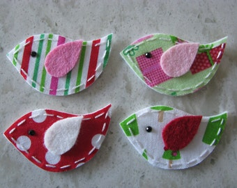 4 Fabric and Felt Felties Christmas Bird Appliques