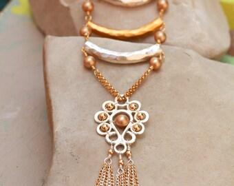 Long Flourish Ladder Necklace with Fringe