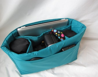 Turquoise Camera Bag Insert - IN STOCK - 5X12X8