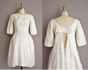 xs tea length 50s white filigree satin silk vintage wedding dress / vintage 1950s dress