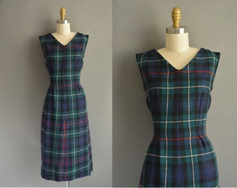 50s wool plaid vintage dress / vintage 1950s dress