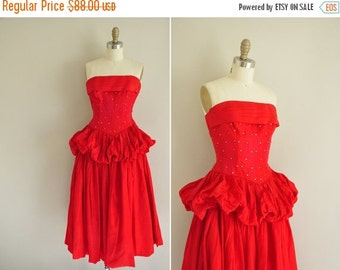 Anniversary SHOP SALE... vintage 1950s dress / 50s red strapless party dress / 1950s rhinestone covered prom dress