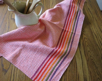 Handwoven Cotton Kitchen Towel Orange with Rainbow Stripes