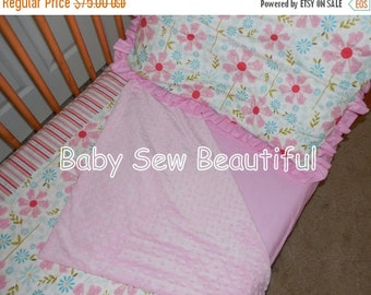 Sale Ready to ship 3 Piece Sweet Divinity Toddler Set - Minky Blanket, Pillowcase, Sheet, Toddler Bedding, Girl Bedding, Unique Girl Bed Set