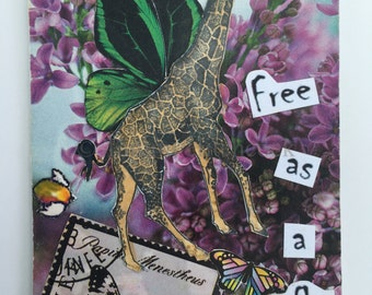 Free as a butterfly Artist Trading Card ACEO ATC original collage 2.5 x 3.5 made 2006 giraffe wings freedom