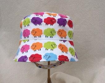 Infant Sun Hat, Baa Baa Bright Sheep, Sun Hat with Straps, Bright Sun Hat, Infant Bucket Hat, Chin Strap Hat, Infant Beach Hat, Baby Hat